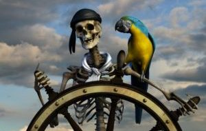 11193971 - 3d render of a skeleton pirate. the background is from one of my sky photos.